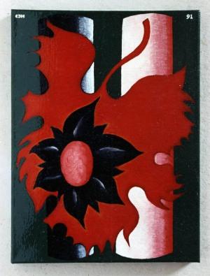 1991, Big Red Leaf, 40 x 30 cm